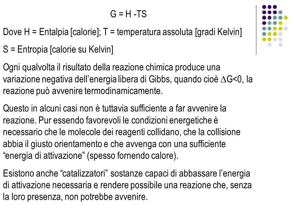 G = H -TS Dove H = Entalpia [calorie]; T = temperatura assoluta [gradi Kelvin] S = Entropia [calorie su Kelvin]